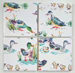 4 Ceramic Coasters in Cath Kidston Ducks